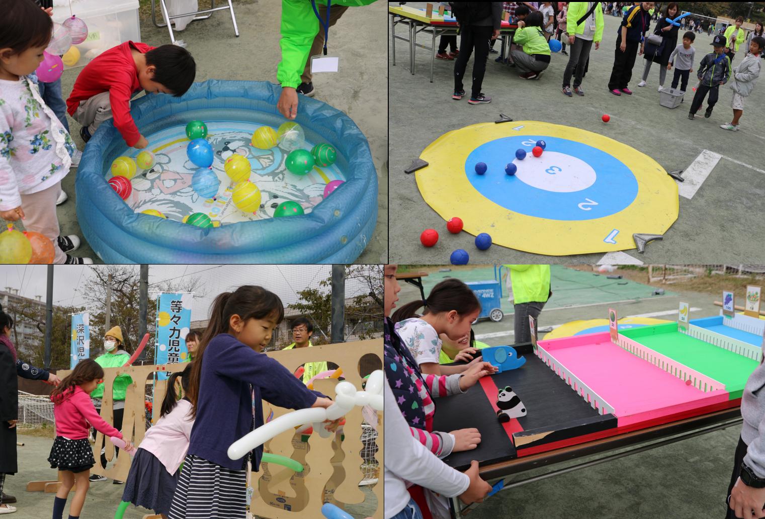 幼児の遊び場でゲームやヨーヨーつりを楽しんでね
